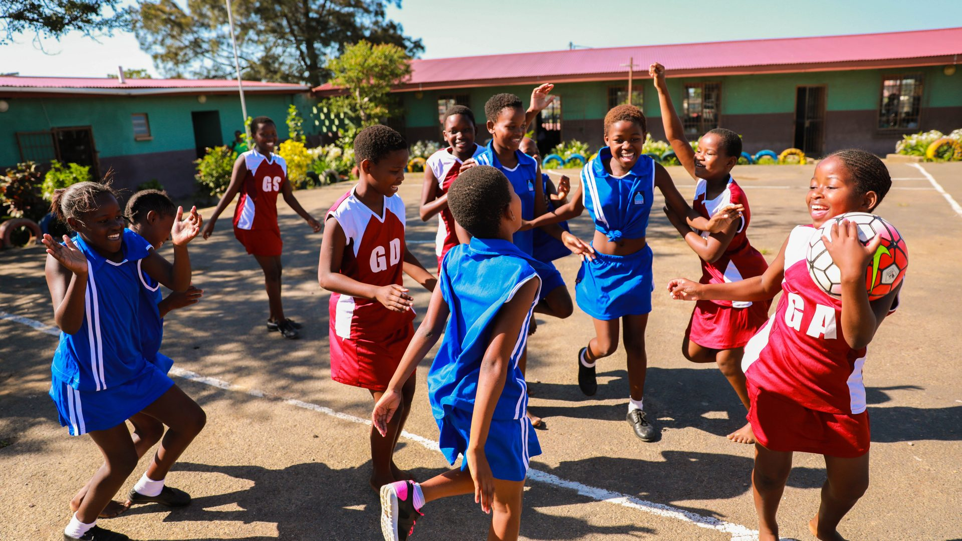 Girls playing netball
